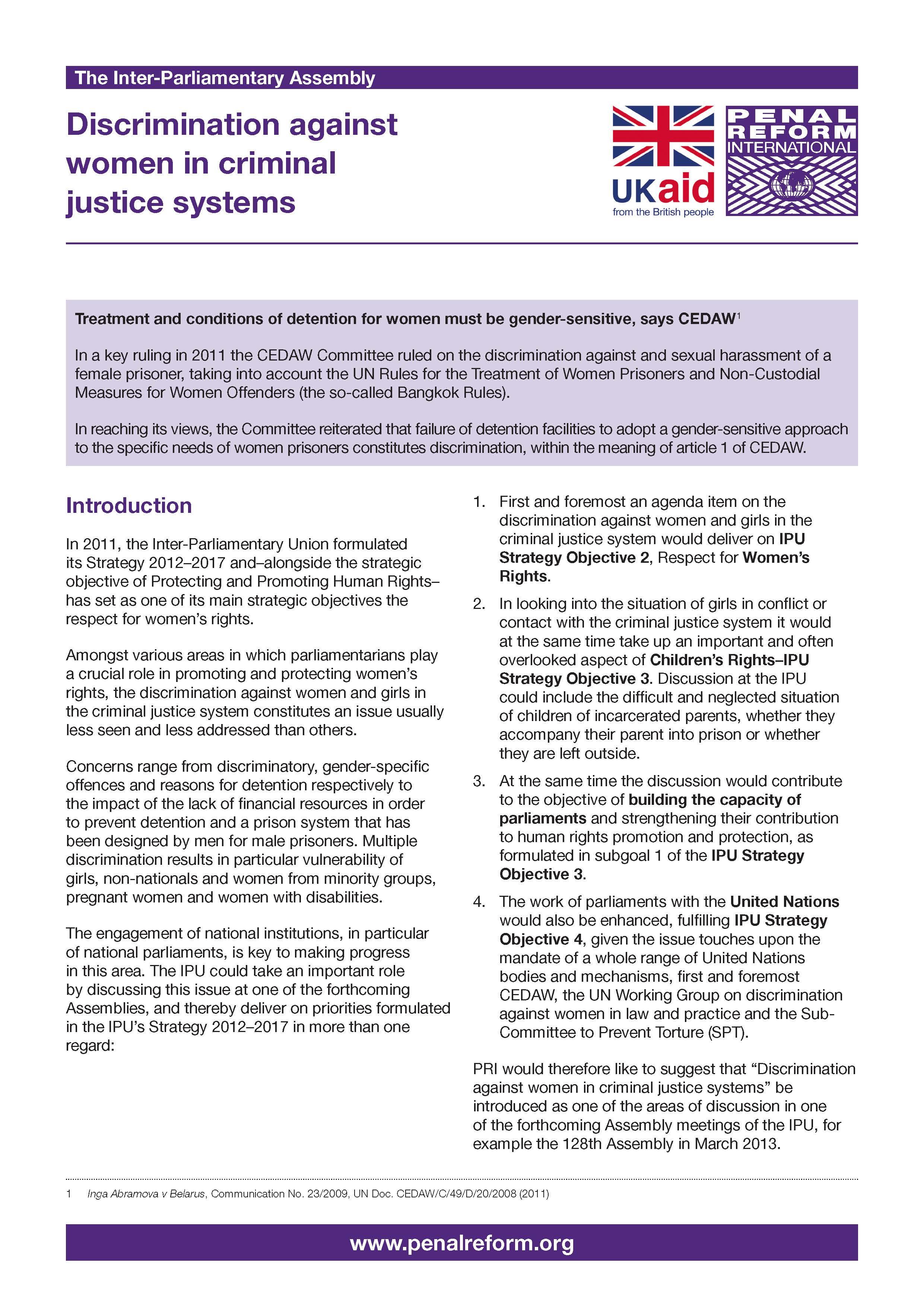 Minorities in criminal justice
