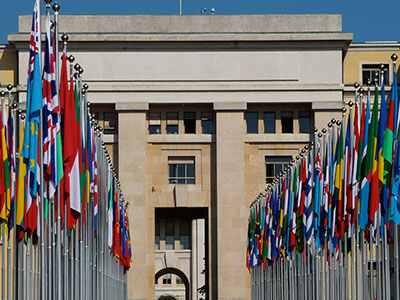 Flags at the UN Building in Geneva
