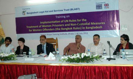 Justice Imman Ali and Alison Hannah at the Bangkok Rules training in Dhaka, June 2013