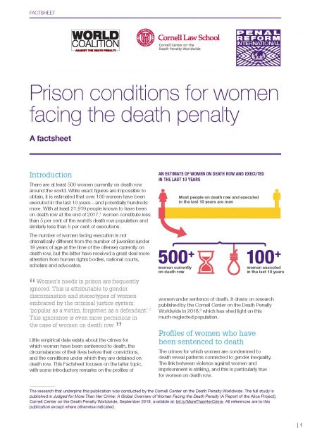 7713d068fcfa Prison conditions for women facing the death penalty  A factsheet - Penal  Reform International